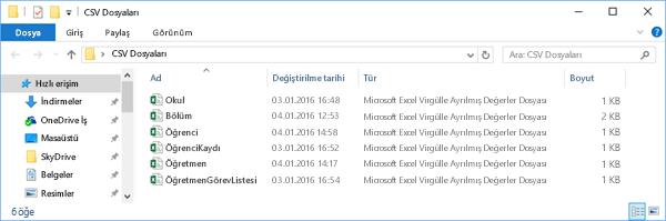 Tüm CSV dosyaları aynı dizinde bulunmalıdır
