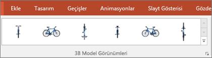 3B Model Görünümleri galerisi, 3B resminizin görünümünü düzenlemek için kullanışlı önceden yapılmış ayarlar sağlar