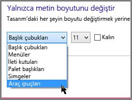 Windows 8 Araç İpuçları biçim ayarları