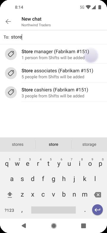 Android kullanarak Teams'de insanlara ulaşmak için etiketleri kullanma