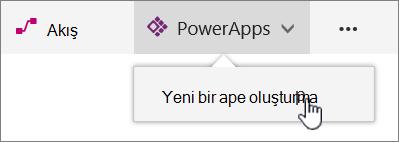 Komut çubuğu vurgulanmış oluşturma Power uygulamasıyla PowerApp menü öğesi.