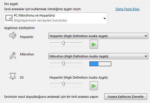 Ses kalitesini ayarlayabileceğiniz Ses aygıtı seçim kutusunun ekran görüntüsü