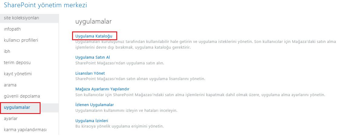 SharePoint Yönetim Merkezi Uygulama Kategorileri'nin ekran görüntüsü