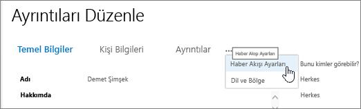 Üç nokta Düzenle Profilim Ayrıntıları Düzenle sayfasında üzerine gelerek fare