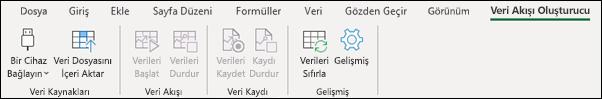 Excel veri Flama Şerit sekmesi