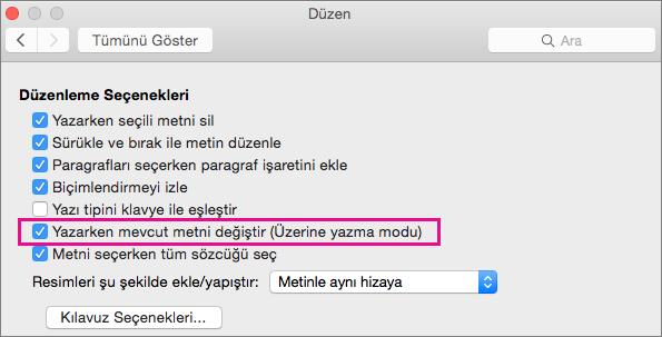 Word Tercihleri Düzenleme iletişim kutusunda Yazarken geçerli metni değiştir (Üzerine yazma modu) seçeneği vurgulanır.