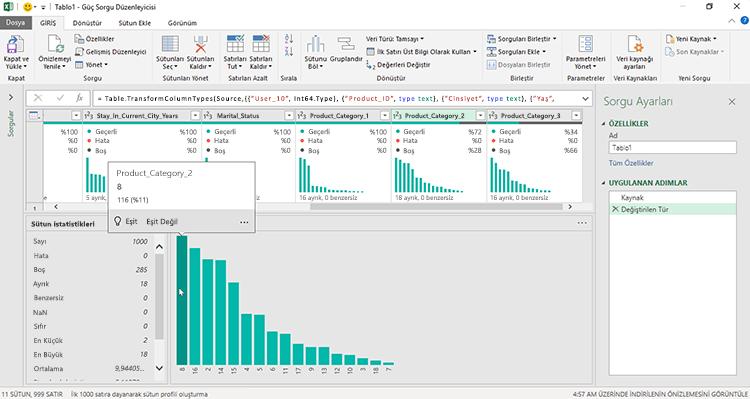 Power Query Düzenleyicisi Veri Profili görünümleri