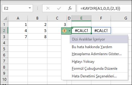 #CALC! hata - dizi içerir aralıkları