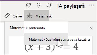 Matematik Özelliğini Aç veya Kapat