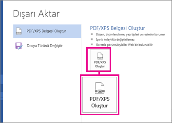 Word 2016'da, Dışarı Aktar sekmesindeki PDF/XPS Oluştur düğmesi.