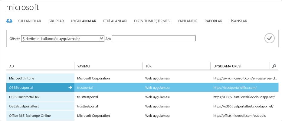 Hizmet Güveni vurgulanmış bir şekilde, listelenen Azure AD uygulamalarını gösterir (O365trustportal).
