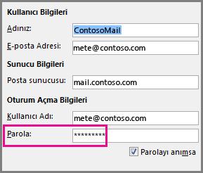 pop3 veya imap hesabı için parolayı değiştirme