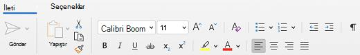 Mac için Outlook 'ta Ileti sekmesindeki yazı tipi grubu.