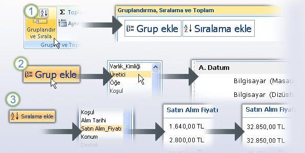 Rapordaki verileri gruplandırma ve sıralama