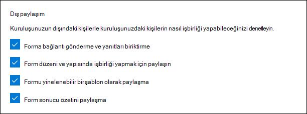 Dış paylaşım için Microsoft Forms Yöneticisi ayarı