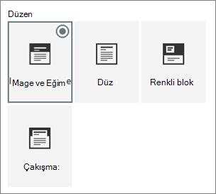 Sayfa düzenleri seçenekleri