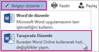 Word Online'da düzenle