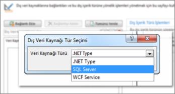 Veri kaynağı türü seçebildiğiniz Bağlantı Ekle iletişim kutusunun ekran görüntüsü. Bu durumda tür, SQL Azure'a bağlanmak için kullanılabilen SQL Server'dır.