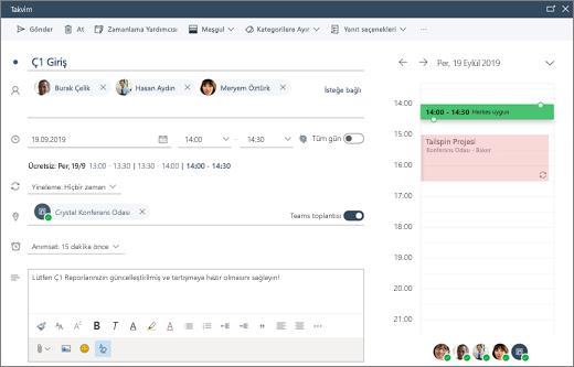 Web üzerinde Outlook'ta toplantı planlama