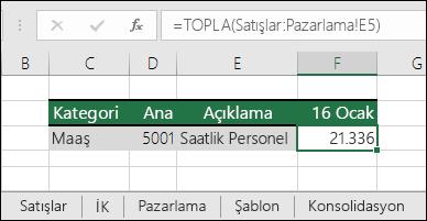 Excel 3B Sayfası başvuru formülü