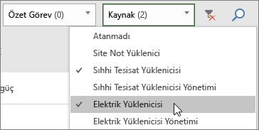 Görev Panosunda iki kaynağın seçili olduğu Kaynakları Filtrele açılan menüsünün ekran görüntüsü
