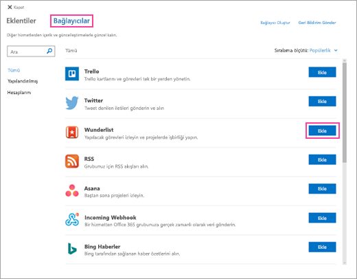 Web üzerinde Outlook'ta bulunan bağlı hizmetlerin ekran görüntüsü