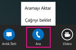 Lync Aktarma menüsünün ekran görüntüsü