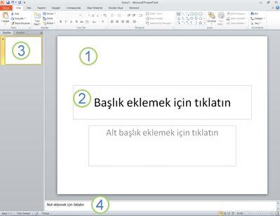 Dört alan etiketli şekilde PowerPoint 2010'da çalışma alanı veya Normal görünümü.