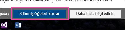 Silinmiş öğeleri kurtar düğmesinin ekran görüntüsü