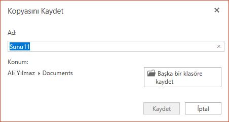 PowerPoint Online'da kopyasını Kaydet iletişim kutusu