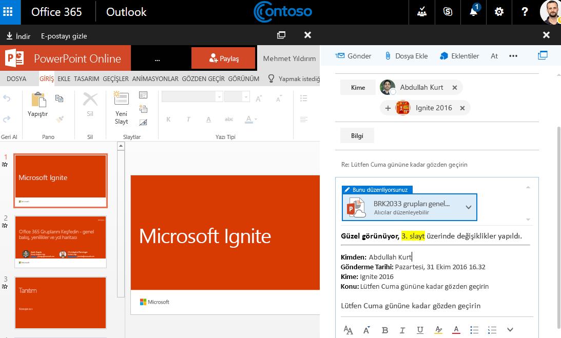 E-posta ekleri içeren ekran görüntüsü