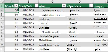 Excel tablosunda PivotTable veri kaynağı olarak kullanılacak örnek veriler