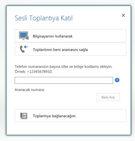 toplantıya çağrılayım seçeneği seçili olarak sesli toplantıya katıl iletişim kutusunun ekran görüntüsü