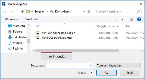 veri kaynağı adres mektup birleştirme