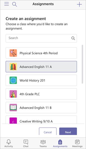 Ödev oluşturma ve sınıflar seçme