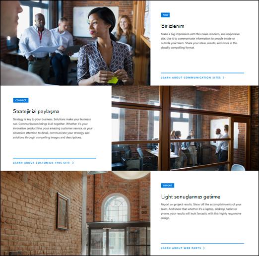 SharePoint ana web bölümü