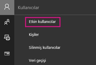 Yönetim merkezinde Kullanıcılar'ı ve ardından Etkin kullanıcılar'ı seçin.