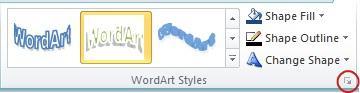 WordArt Stilleri İletişim Kutusu Başlatıcısı