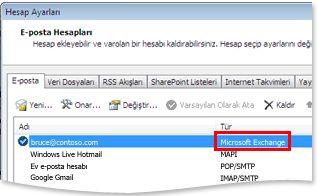 hesap ayarları iletişim kutusunda örnek bir exchange hesabı