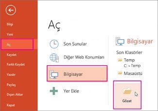 PowerPoint Şablonunu yükleme ve uygulama