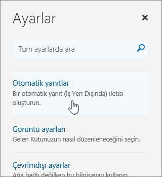 Otomatik yanıtla seçeneğinin belirlendiği Yardım ekranının görüntüsü.