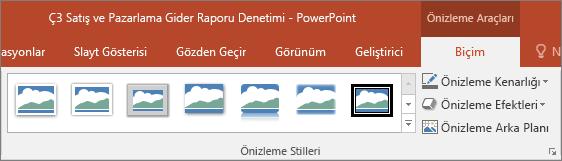 PowerPoint'teki Biçim sekmesinden seçebileceğiniz farklı Önizleme Stilleri'ni gösterir.