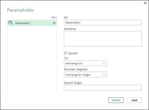 Power Query - Parametreleri Yönetme İletişim Kutusu