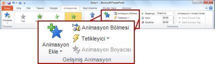 PowerPoint 2010 şeridinde Animasyon sekmesindeki Gelişmiş Animasyon grubu.