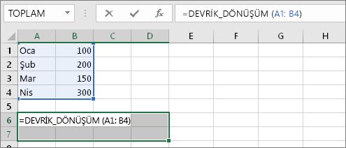 =DEVRİK_DÖNÜŞÜM(A1:B4)
