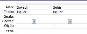 boş değer alanı içeren kayıtları göstermeye ayarlanmış ölçüt içeren sorgu tasarımcısı