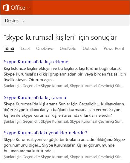 Office Desteği sitesinde Skype Kurumsal Kişileri için bulunan arama sonuçlarının ekran görüntüsü.