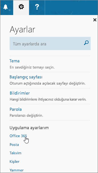 Office 365 Ayarlar bölmesi