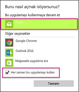 Kullanmak istediğiniz e-posta uygulamasını seçin