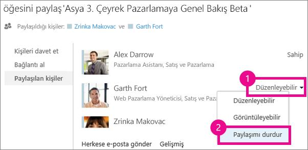OneDrive İş Paylaş penceresindeki paylaşımı Durdur komutu